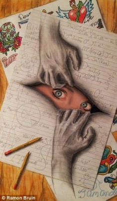 The pictures that draw you in… Amazing 3D sketches that look as if objects are…