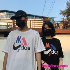 db3d79405b6ac アディダス ナイキ コラボ Tシャツ 黒 白 ピンク HIPHOP系 男女かっこいーなコーディ お洒落 icutebuy
